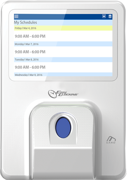 EasyClocking Xenio 700 Fingerprint Time Clock On Terminal Schedule Review Feature Large
