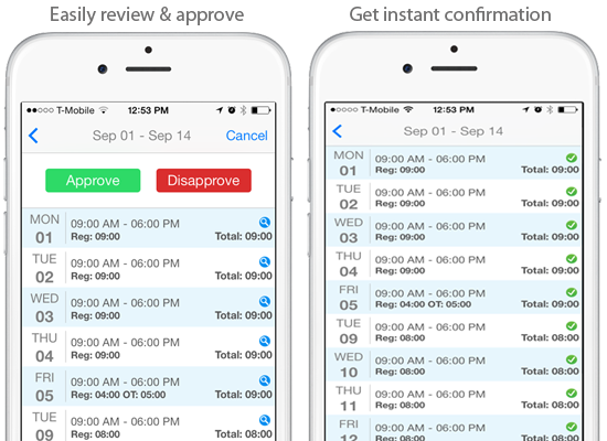 EasyClocking Time & Attendance Mobile App Approve Employee Hours On the Go