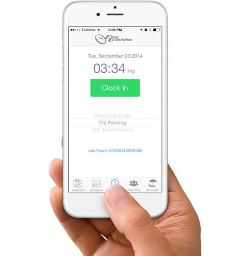 EasyClocking Time & Attendance Mobile App Clocking In Screen