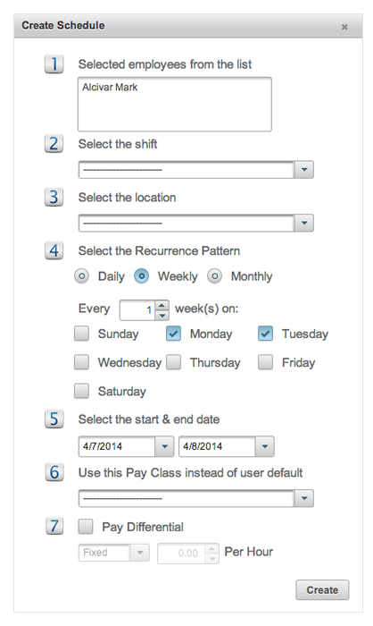 EasyClocking Time & Attendance Software Create Schedule Prompt Image