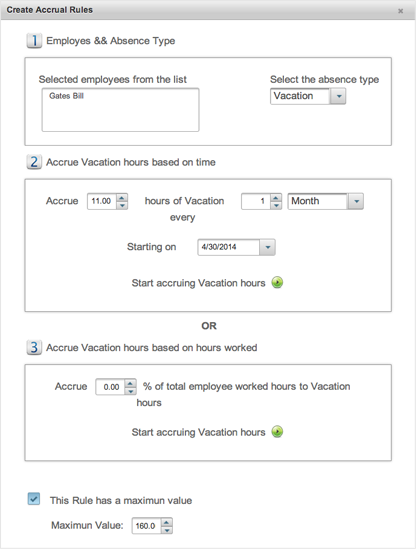 EasyClocking Time & Attendance Software Create Accrual Rules Prompt Image