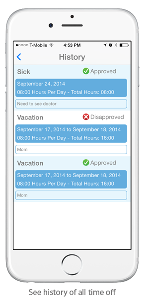EasyClocking Time & Attendance Mobile App Employee Absence History Screen