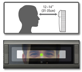 EasyClocking IRIS Recognition Ideal Distance Graphic