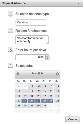 EasyClocking Time & Attendance Software Request Absensce prompt