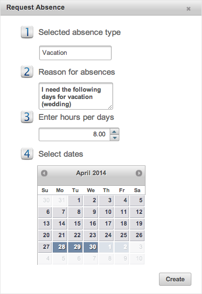 EasyClocking Time & Attendance Software Request Absensce prompt large