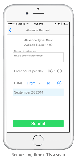 EasyClocking Time & Attendance Mobile App Submit Time Off Request Screen