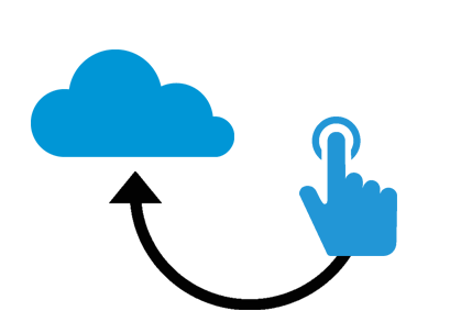 EasyClocking cloud graphic with clicking hand image