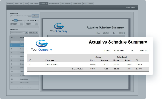 EasyClocking Time & Attendance Software Reports Screenshot - Actual Hours vs Scheduled Hours