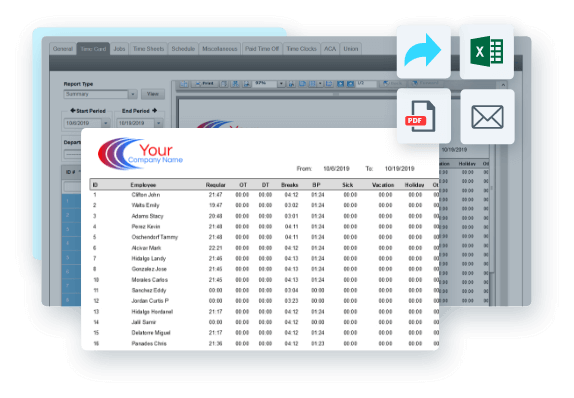 EasyClocking Time & Attendance Software can export to e-mail, spreadsheet or PDF