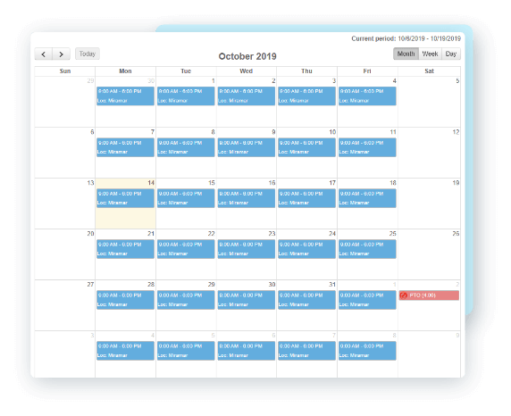 EasyClocking Time & Attendance Software Calender and Schedule View