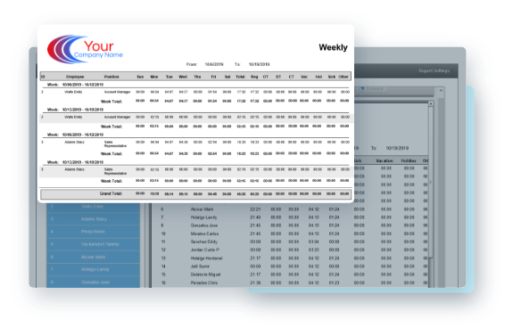 EasyClocking Time & Attendance monthly schedule report example