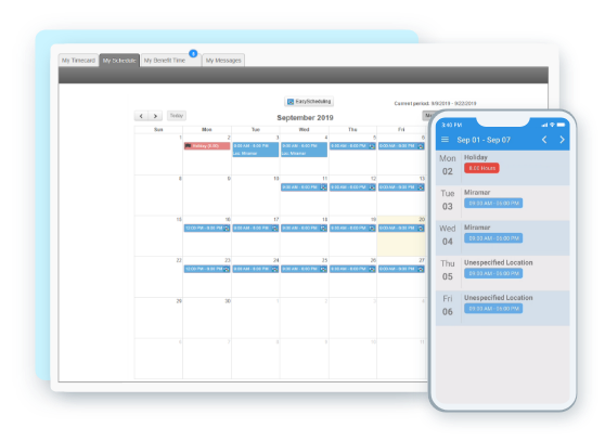 EasyClocking Time & Attendance Software on Tablet Mobile Scheduling Feature