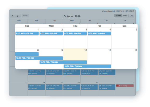 EasyClocking Time & Attendance Software Calendar View
