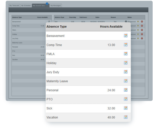 EasyClocking Time & Attendance Software Paid Time Off Screen