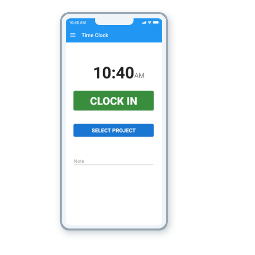 EasyClocking Time & Attendance App Main Screen