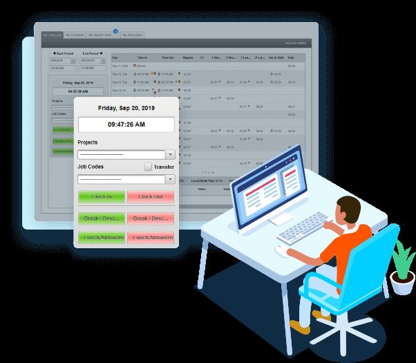 EasyClocking Time & Attendance Software Main Login Screen Desktop