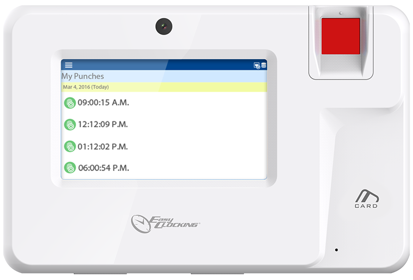 EasyClocking Xenio 200 Fingerprint Time Clock Employee On Terminal Timecard Review Feature